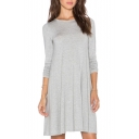 Round Neck Long Sleeve T-Shirt Plain Dress