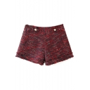 Zipper Side Mid Waist Double Pockets Tweed Shorts