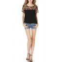 Scoop Neck Short Sleeve Leopard Print Tee