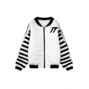 Stand Up Neck Long Sleeve Zipper Stripes Jacket
