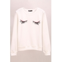 Eyes Print Long Sleeve Round Neck Sweatshirt