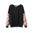 Round Neck Long Sleeve Floral Print Sweatshirt