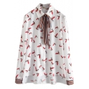 Tie Lapel Neck Long Sleeve Chiffon Print Shirt