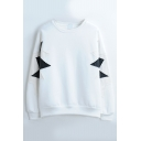 Patchwork Long Sleeve Round Neck Pullover Sweatshirt