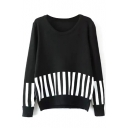 Piano Keyboard Print Round Neck Long Sleeve Sweater