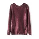 V-Neck Long Sleeve Plain Gilded Long Sweater
