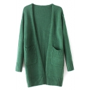 Cocoon Neck Long Sleeve Double Pockets Plain Long Cardigan