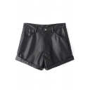 High Waist PU Turn Up Zipper Fly Loose Shorts