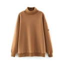 Plain High Neck Batwing Sleeve Loose Fleece Sweatshirt