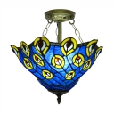 Upward Peacock Pattern 16 Inch 3-light Tiffany Semi Flush Mount Ceiling Light