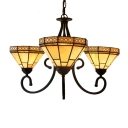 Three Lighted 26 Inch Geometric Patterned Chandelier Lighting in Craftsman Style