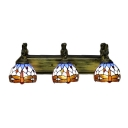 Mermaid Armed Dragonfly Motif Stained Glass Tiffany 3-light Bathroom Fixture