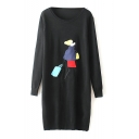 Round Neck Long Sleeve Longline Character Print Sweater