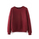 Round Neck Long Sleeve Plain Stripe Sweatshirt