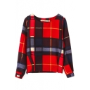 Round Neck Long Sleeve Zipper Detail Plaid Tee