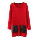 Long Sleeve Round Neck Double Pockets Long Sweater
