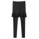 Elastic Waist Tassel Skinny Plain Skirt Leggings