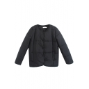 Single Breasted Long Sleeve Black Padded Coat