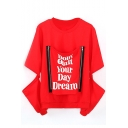 Round Neck Long Sleeve Zip Detail Letter Print Sweatshirt
