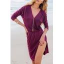 V-Neck Long Sleeve Split Hem Midi Dress