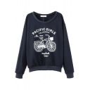 Scoop Neck Long Sleeve Navy Print Sweatshirt