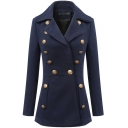 Single Breasted Button Detail Long Sleeve Notched Lapel Coat