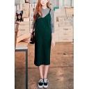 Straps Plain Midi Knit Green Dress