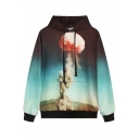 Hooded Cloud Print Long Sleeve Sweatshirt