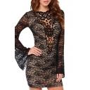 Boat Neck Lace Black Mini Bodycon Dress