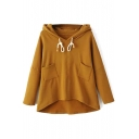 Drawstring Hooded Pockets Long Batwing Sleeve Fleece Sweatshirt
