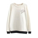 Color Block Back Letter Embroidery Round Neck Sweatshirt