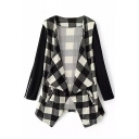 Open Front Asymmetrical Hem Plaid Zipper Detail Coat