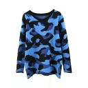 Camouflage Print Long Sleeve Round Neck Sweater