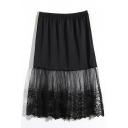 A-Line Lace Patchwork Plain Elastic Waist Skirt