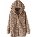 Faux Fur Single Breasted Hooded Brown Coat