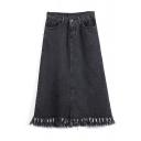 High Waist Denim Raw Edge Zipper Fly Plain Midi Skirt