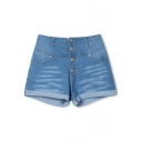 Button Fly Turn Up Hem High Waist Hot Denim Short