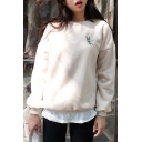 Cute Cartoon Dragonfly Embroidery Fleece Sweatshirt
