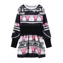 Bubble Gum & Character Print Elastic Waist Fleece Dress