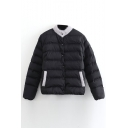 Stand Up Neck Patchwork Color Block Single Breasted Padded Coat