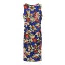 Round Neck Sleeveless Slim Split Back Floral Print Maxi Dress