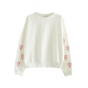 Round Neck Heart Print White Pullover Long Sleeve Sweatshirt