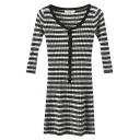 Scoop Neck 3/4 Length Sleeve Stripes Button Detail Knit Dress