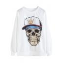 Raglan Sleeve Skull Print Round Neck Pullover Sweatshirt