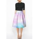 Pink Tie-Dye Galaxy Print A-Line Midi High Waist Skirt