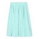 Elastic Waist Plain A-Line High Waist Midi Skirt