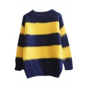 Round Neck Color Block Stripes Long Sleeve Sweater