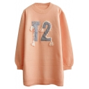 Number Patchwork Round Neck Long Sleeve Longline Sweater