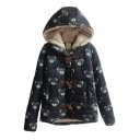 Horn Button Down Cartoon Bear Print Wool Lining Hooded Coat