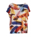 Colorful Leather Print Batwing Sleeve Round Neck Tee